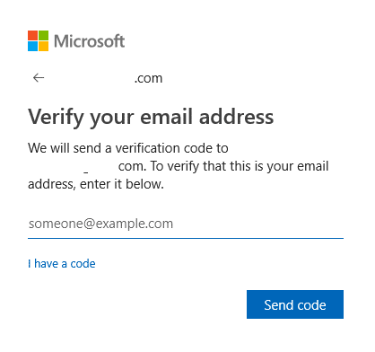 verifying email address for sending passcode as a part of identity verification in Windows 10