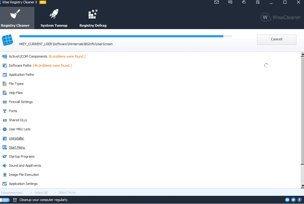 registry scan in Wise Registry Cleaner Pro