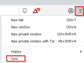 accessing sync settings in Brave browser