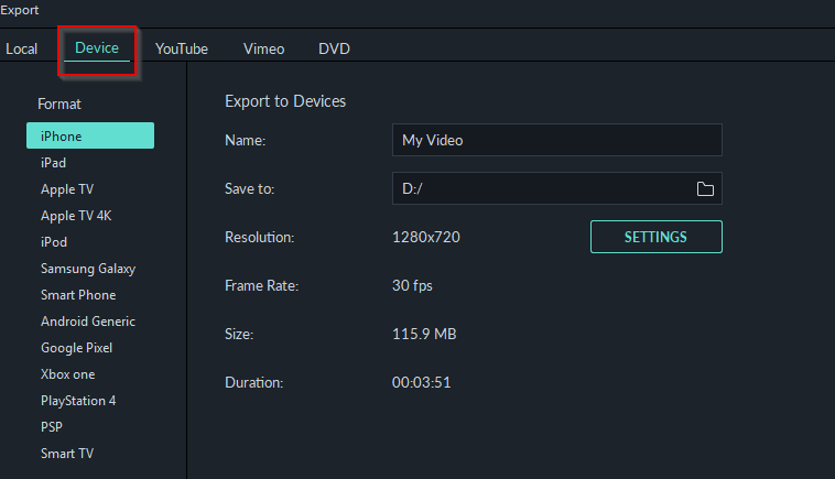 device specific playback export options in Filmora9