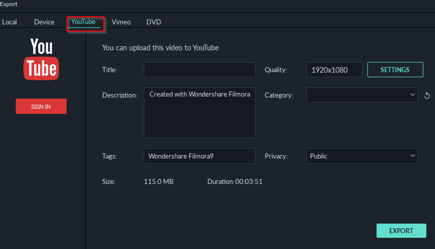 uploading exported videos directly to YouTube in Filmora9