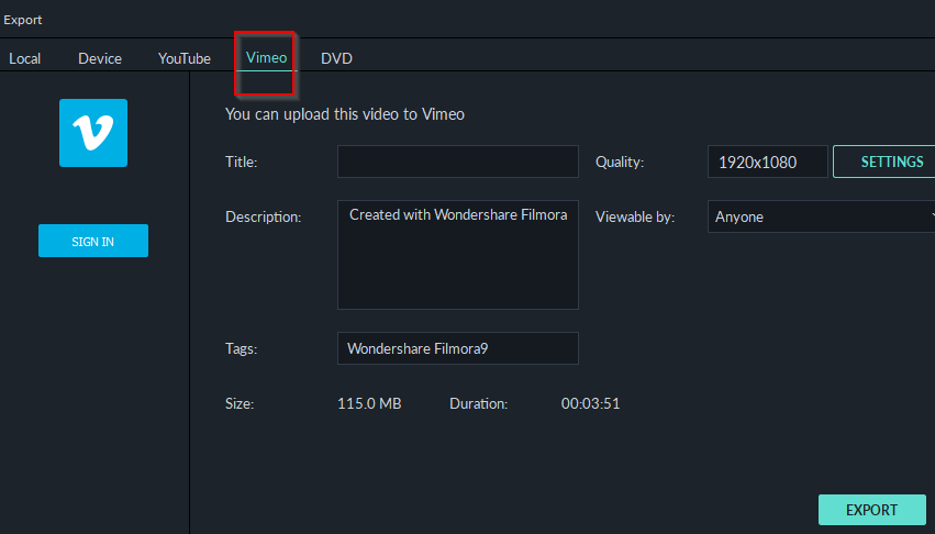 uploading exported videos directly to Vimeo in Filmora9