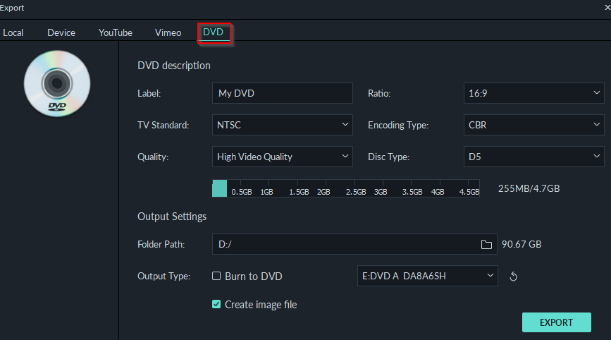 burning exported video to DVDs or saving as image file using Filmora9