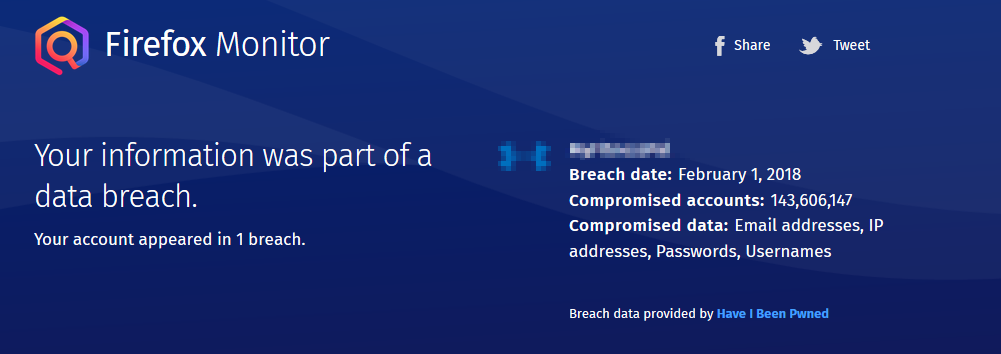 data breach found for email address using Firefox Monitor