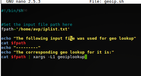 shell script that uses a file for geoiplookup