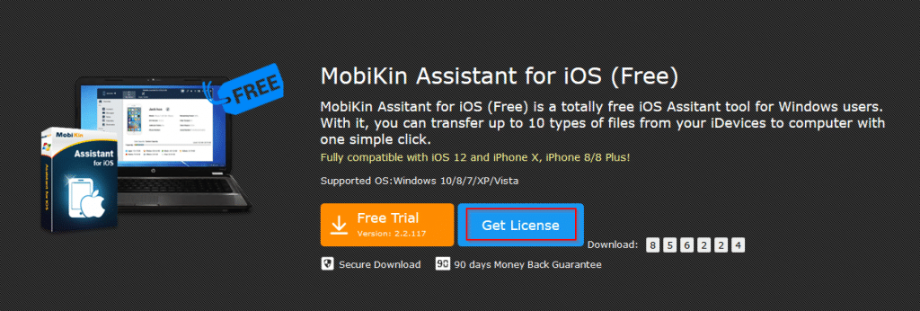 MobiKin Assistant for iOS product giveaway page
