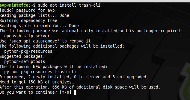 installing trash-cli in Linux Mint