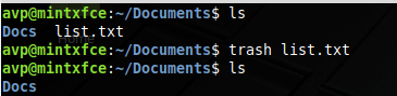 deleting files using trash command in Linux Mint