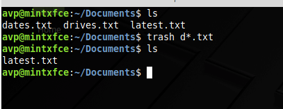 using wildcards to delete multiple files and folders using trash command