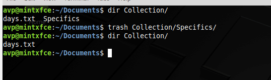 deleting sub directories using trash command