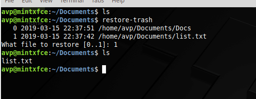 restoring deleted files and folders using trash command