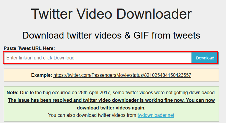 Twitter Video Downloader home page