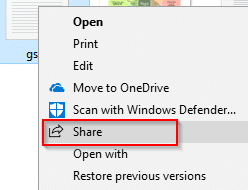 sharing a file in Windows 10