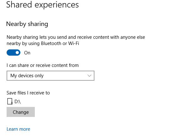 configuring nearby sharing options on destination Windows 10 PC