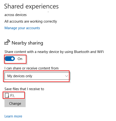 enabling nearby sharing on source Windows 10 PC