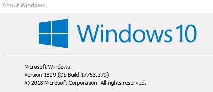 windows 10 version details using winver command