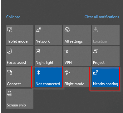 enabling bluetooth and nearby sharing from Windows 10 action center