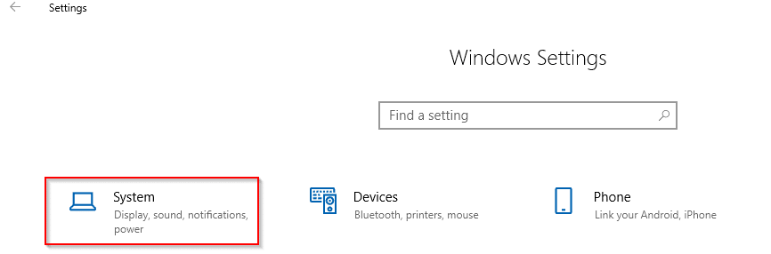 accessing Windows 10 system settings
