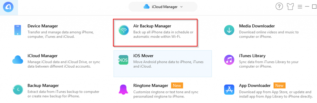 Air Backup Manager in AnyTrans