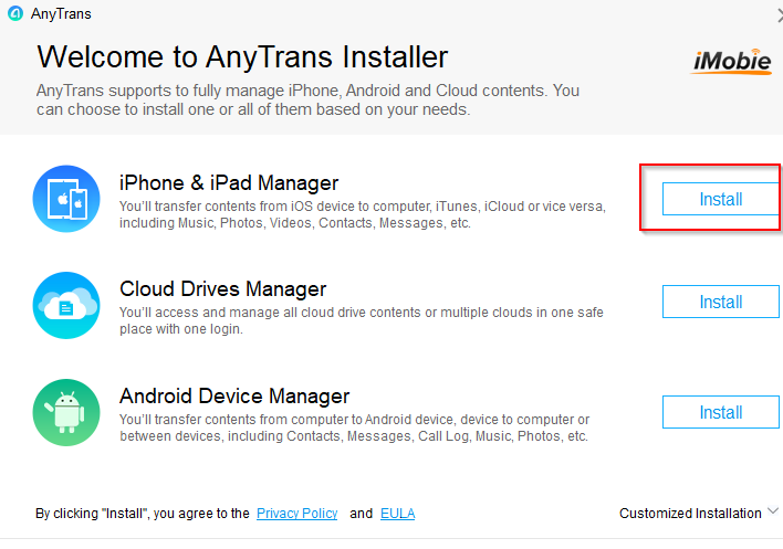 AnyTrans installer for iOS