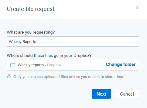 Naming the file request in Dropbox
