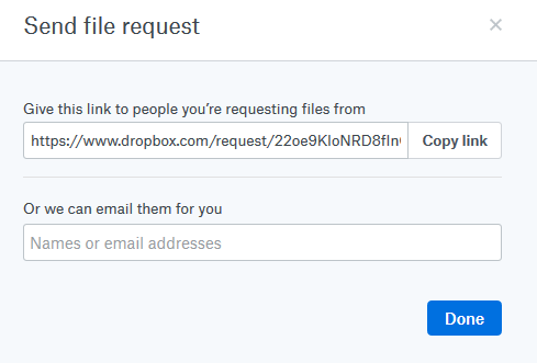 File request link generated in Dropbox