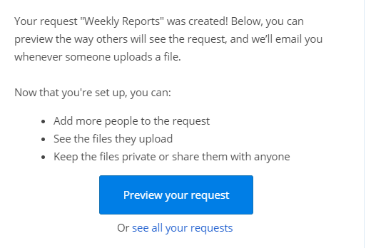 email notification about created file request in Dropbox