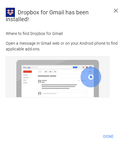 Dropbox add-on installed for Gmail