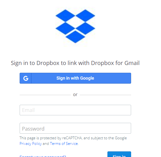 Dropbox login to access files and folders