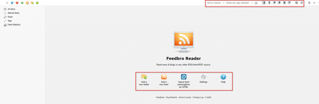 FeedBro Reader main interface