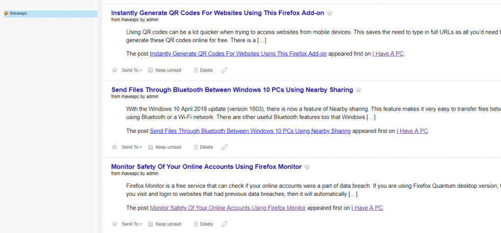 RSS feed articles displayed using Feedbro