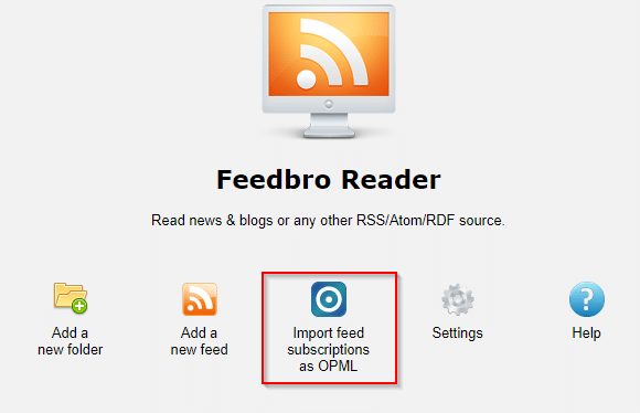importing OPML feed subscriptions in Feedbro