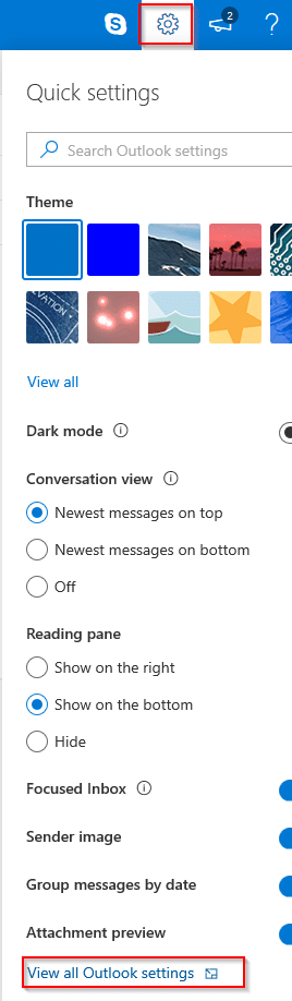 accessing outlook.com settings