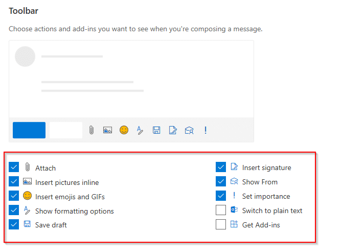 configuring quick actions for toolbar for composing messages in outlook.com