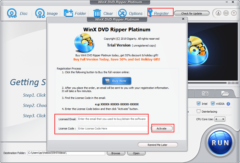activating giveaway version of WinX DVD Ripper Platinum
