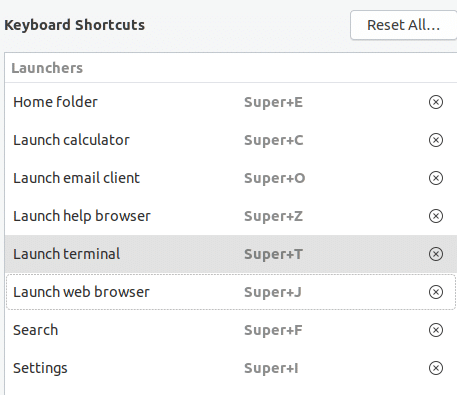 setting custom keyboard shortcuts in Ubuntu 19.04