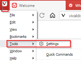 accessing Vivaldi settings