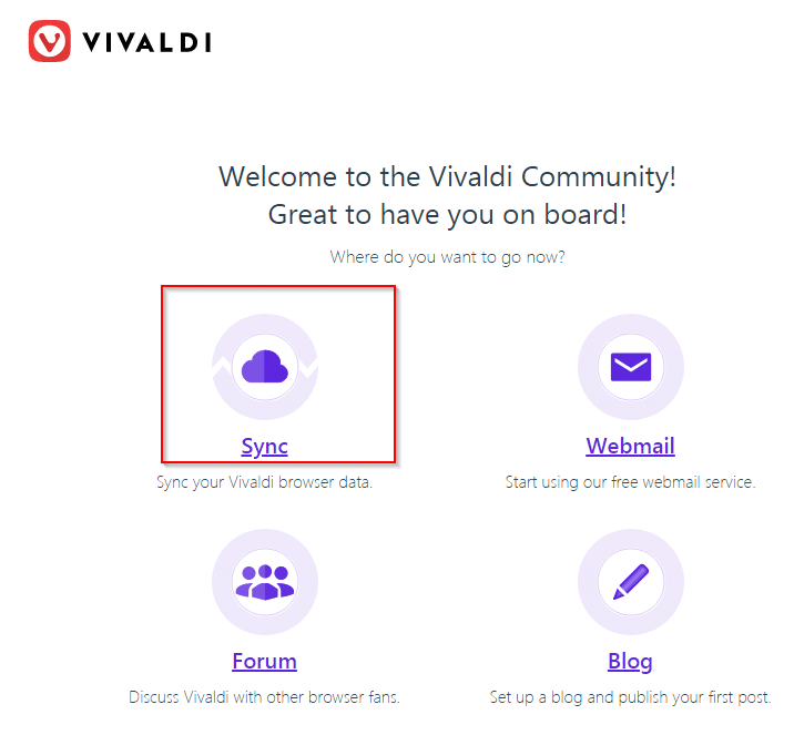 signup complete for Vivaldi account