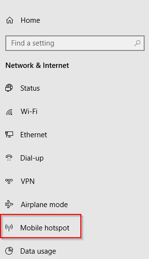 Network & Internet settings in Windows 10