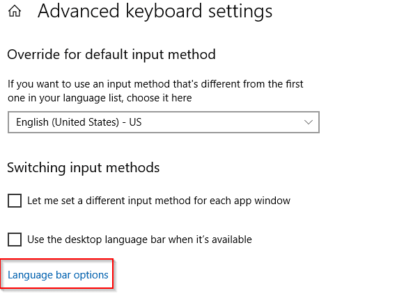 changing the language bar options in Windows 10