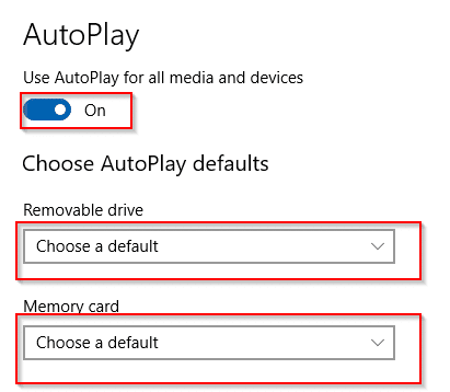 changing autoplay settings for devices in Windows 10