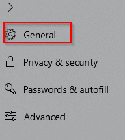 General settings in Edge browser