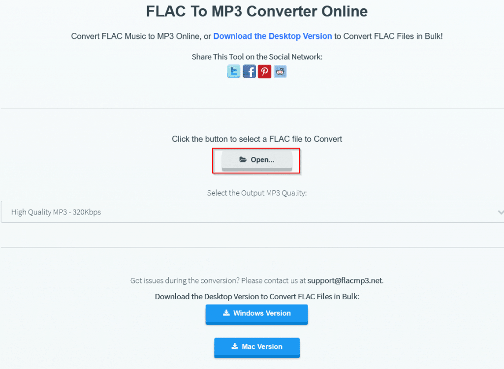 FLAC to MP3 Converter Online tool homepage