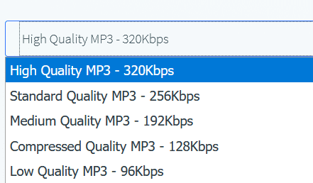 choosing output MP3 file quality using FLAC to MP3 Converter Online tool