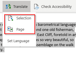 translate options in OneNote