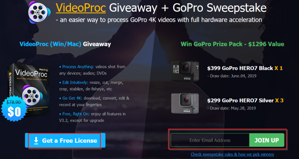 download VideoProc giveaway version and participate in GoPro sweepstakes
