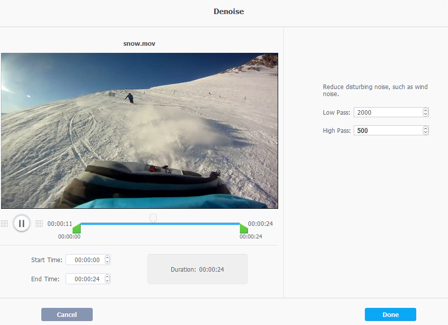 removing background noise from GoPro videos using VideoProc