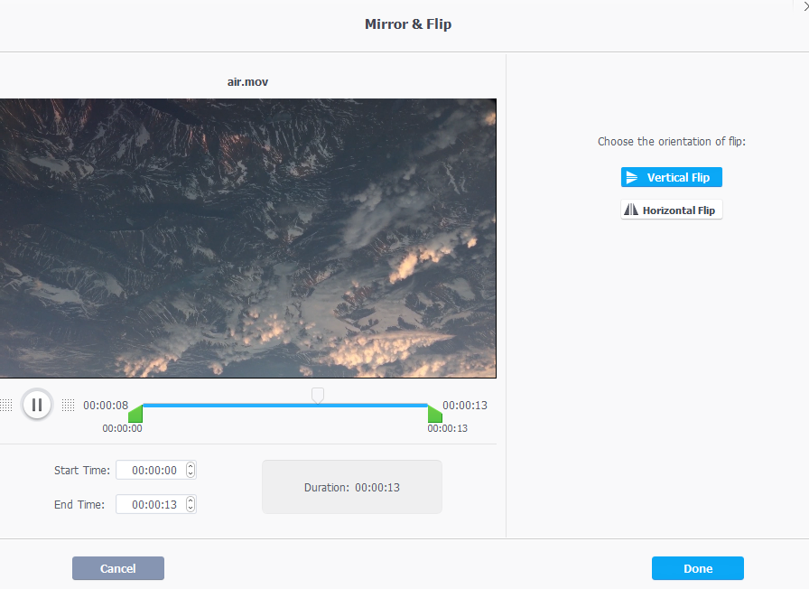 flip videos horizontally and vertically using VideoProc