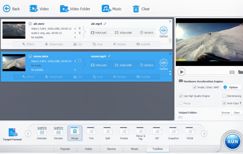 merging different videos in VideoProc
