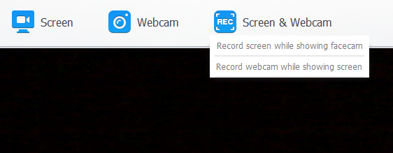 options of recording screen and webcam in Recorder